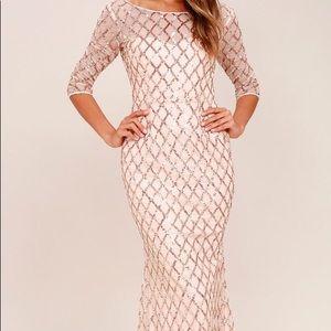 Rose gold sequin maxi dress